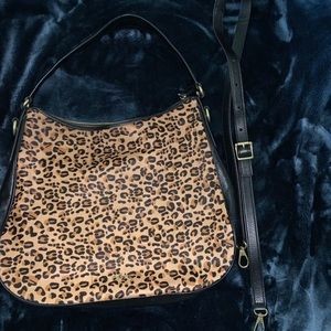 Fossil Hobo Cheetah Calfhair & Leather Purse
